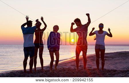 Happy party friends beach leisure fun group
