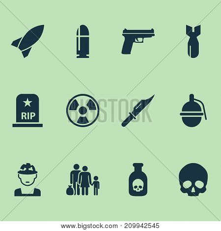 Army Icons Set. Collection Of Rip, Fugitive, Weapons And Other Elements