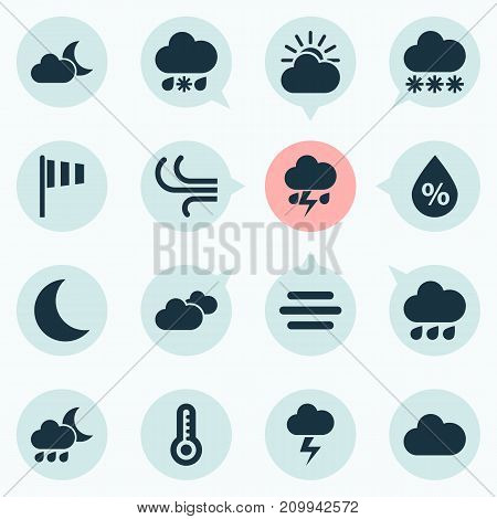 Air Icons Set. Collection Of Flag, Nightly, Cloudy And Other Elements