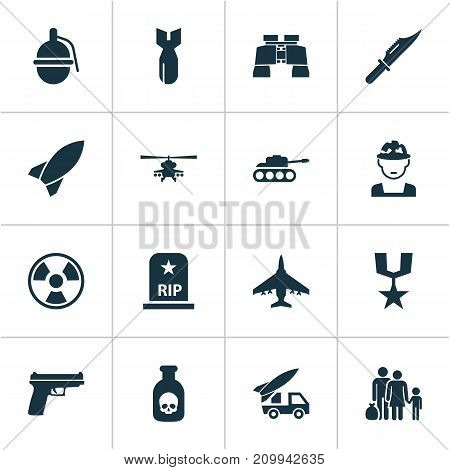 Combat Icons Set. Collection Of Weapons, Fugitive, Ordnance And Other Elements