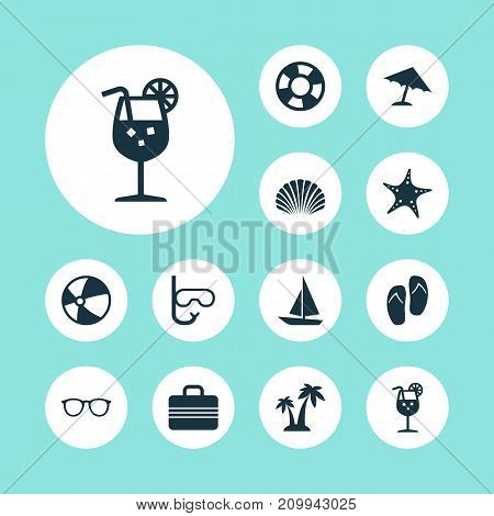 Season Icons Set. Collection Of Spectacles, Trees, Balloon And Other Elements