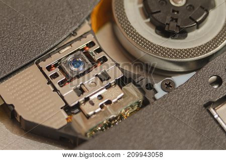 CD and DVD Laser drive. Photo Close-up of and with Shallow Depth of Field. There is space for text
