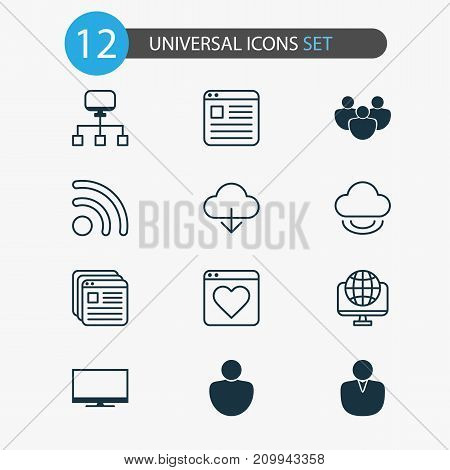 Web Icons Set. Collection Of Bookmark, Download, Local Connection And Other Elements