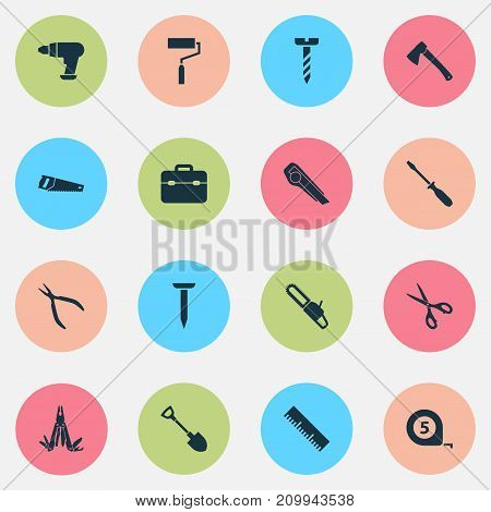 Tools Icons Set. Collection Of Screw, Multifunctional Pocket, Tool And Other Elements