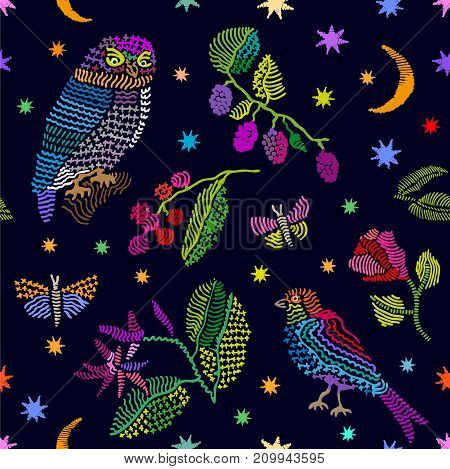 Seamless vector pattern with birds, blackberry and flowers. Vintage motifs. Retro textile design collection. Colorful on dark.