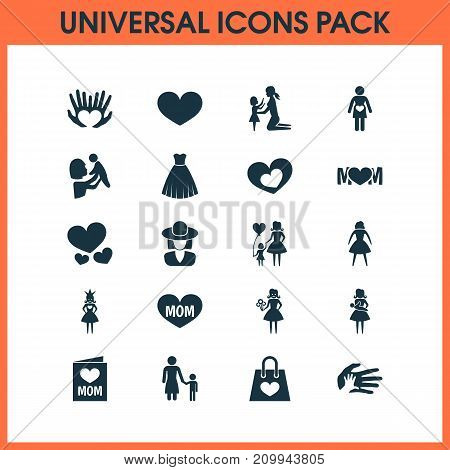 Mothers Day Icon Design Concept. Set Of 20 Such Elements As Child, Helping And Queen