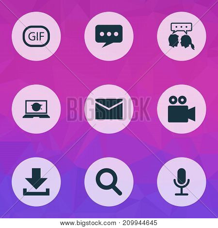 Internet Icons Set. Collection Of Gif Sticker, Video Chat, Letter And Other Elements
