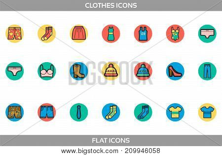 Simple Set of Clothes and shopping Vector flat with outline in circles Icons. Contains such Icons as t-shirt, boots, shoes, pants, shorts, jeans, swimming suit, socks, hat, underwear
