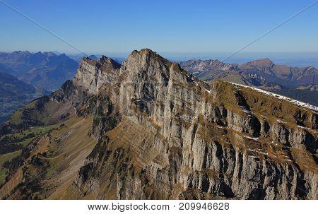 Autumn day in Switzerland. Churfirsten range seen from Chaeserrugg.