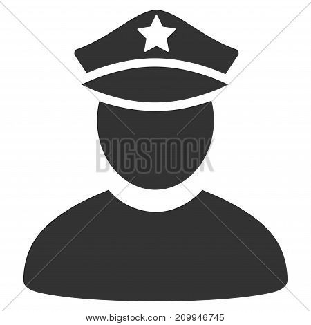 Policeman vector pictograph. Style is flat graphic grey symbol.