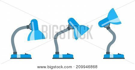 Office desk lamp. Several options of an inclination. Flat design Vector illustration
