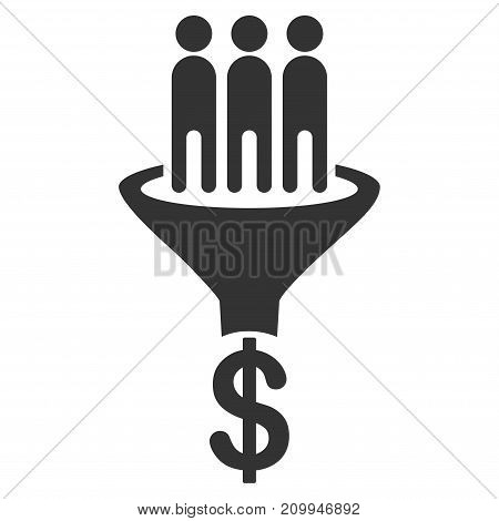 Sales Funnel vector icon. Style is flat graphic grey symbol.