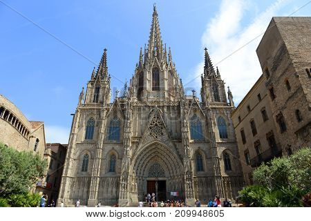 BARCELONA - JUN. 11, 2013: Cathedral front facade, Old Town Barcelona, Spain. Barcelona Cathedral of the Holy Cross and Saint Eulalia was built in 14th century in Old City Ciutat Vella Barcelona.
