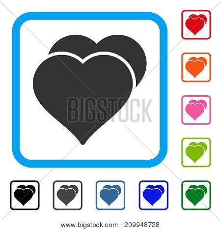 Love Hearts icon. Flat grey iconic symbol in a light blue rounded square. Black, gray, green, blue, red, orange color variants of Love Hearts vector. Designed for web and app UI.