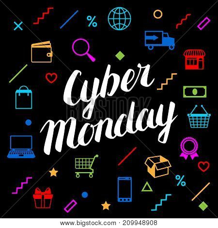 Cyber monday sale background. Online shopping and marketing advertising concept.