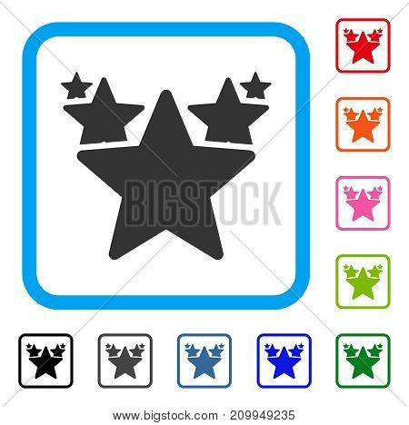 Stars Hit Parade icon. Flat gray iconic symbol inside a light blue rounded square. Black, gray, green, blue, red, orange color versions of Stars Hit Parade vector.