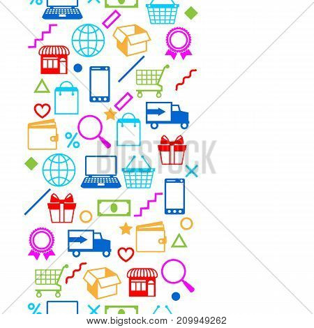 Seamless pattern with sale items. Online shopping and marketing advertising concept.
