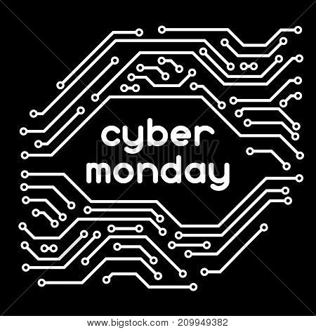 Cyber monday sale background. Online shopping and marketing advertising concept. Pattern of microchip elements.