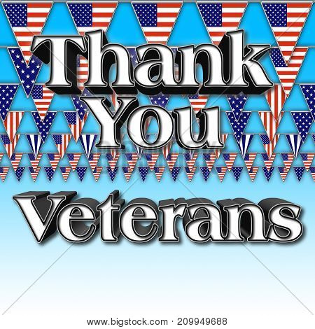 Thank you Veterans, Blue gradient, 3D Illustration, Honoring all who served, American holiday template.