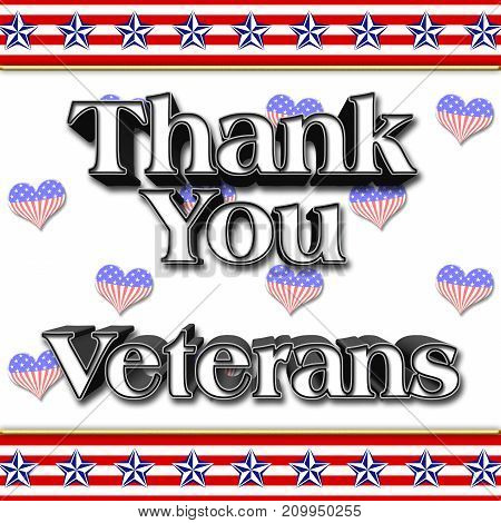Thank you Veterans, Heart shapes, 3D Illustration, Honoring all who served, American holiday template.