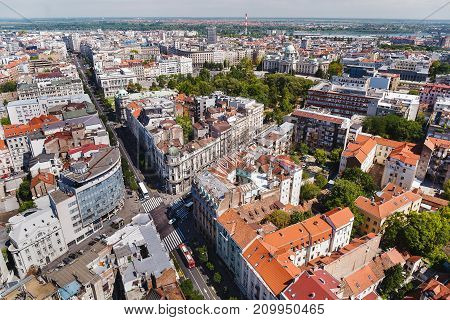 Belgrade, Serbia, July 30, 2017.Belgrade by day with national assembly, aerial view