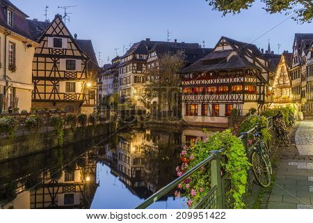 Evening view of Petite France - a historic quarter of the city of Strasbourg in eastern France