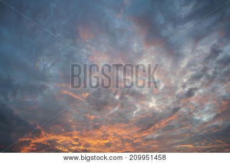 Colorful Orange And Blue Dramatic Sky