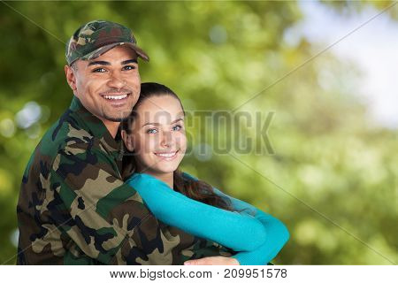 Wife soldier residential structure heterosexual couple armed forces army soldier family reunion