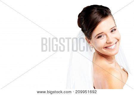 White wedding bride dress color background view
