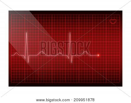 Red line heart rate on the screen. Vector electrocardiogram background