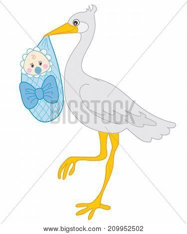 Vector grey stork holding baby boy. Vector stork. Vector baby boy shower. Stork with baby boy vector illustration