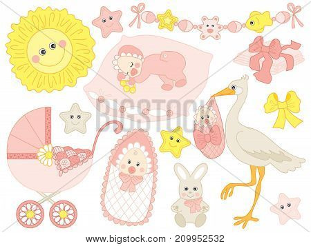 Vector baby girl set. Set includes cute baby girl, stroller, stork. bunny, sun, diapers in pink, pastel colours. Vector baby girl shower. Baby girl vector illustration