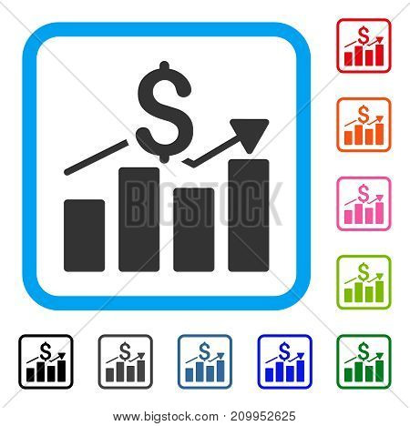 Sales Bar Chart icon. Flat grey pictogram symbol in a light blue rounded frame. Black, gray, green, blue, red, orange color versions of Sales Bar Chart vector. Designed for web and app user interface.
