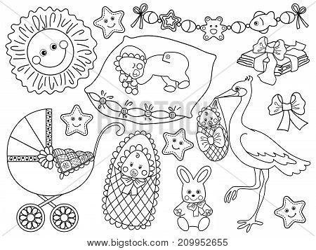 Vector black and white set for baby shower. Set includes cute baby, stroller, stork. bunny, sun and diapers. Vector baby shower. Baby shower vector illustration