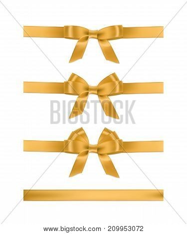 Vector realistic golden ribbons and bows. Set of holiday design elements
