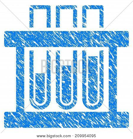 Grunge Analysis Test-Tubes icon with grunge design and dirty texture. Unclean vector blue Analysis Test-Tubes pictogram for rubber seal stamp imitations and watermarks. Draft sign symbol.