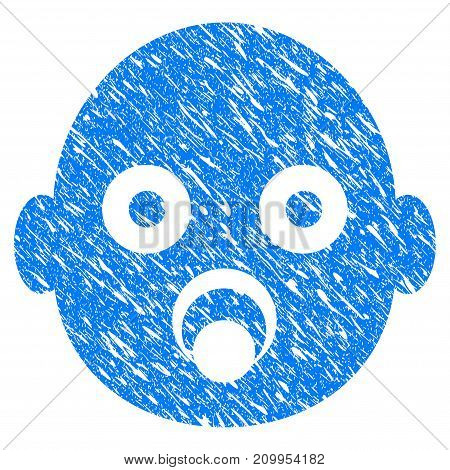 Grunge Baby Head icon with grunge design and dust texture. Unclean vector blue Baby Head pictogram for rubber seal stamp imitations and watermarks. Draft sign symbol.