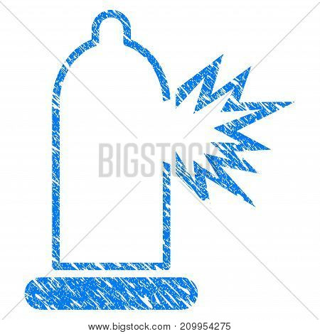 Grunge Condom Damage icon with grunge design and dirty texture. Unclean vector blue Condom Damage pictogram for rubber seal stamp imitations and watermarks. Draft sticker symbol.