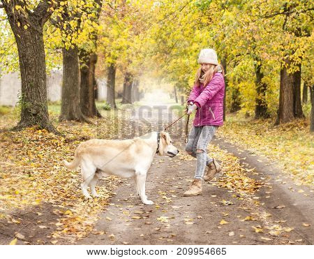 Girl with her dog while walking in the autumn park