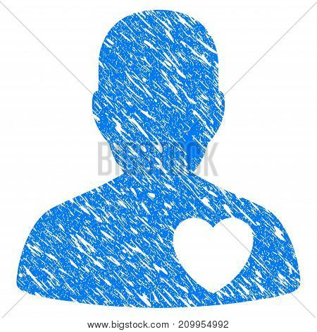 Grunge Love Heart Guy icon with grunge design and dirty texture. Unclean vector blue Love Heart Guy pictogram for rubber seal stamp imitations and watermarks. Draft sign symbol.