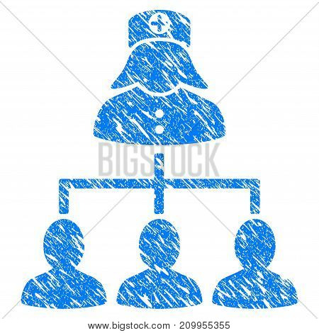 Grunge Patients Nurse Hierarchy icon with grunge design and unclean texture. Unclean vector blue Patients Nurse Hierarchy pictogram for rubber seal stamp imitations and watermarks. Draft sign symbol.