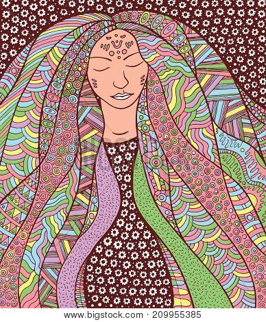 Shaman hippie girl with ornate hair. Allegory for Icelandic Aurora Borealis. Colorful illustration.