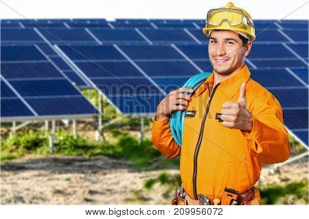 Construction work worker thumb up construction side white blue