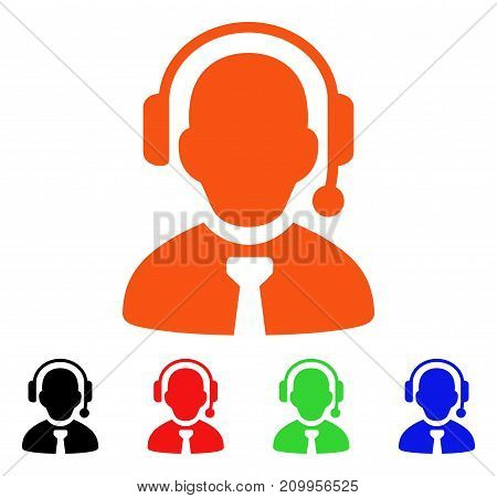 Call Center Boss icon. Vector illustration style is a flat iconic call center boss symbol with black, orange, red, green, blue color variants. Designed for web apps and software interfaces.