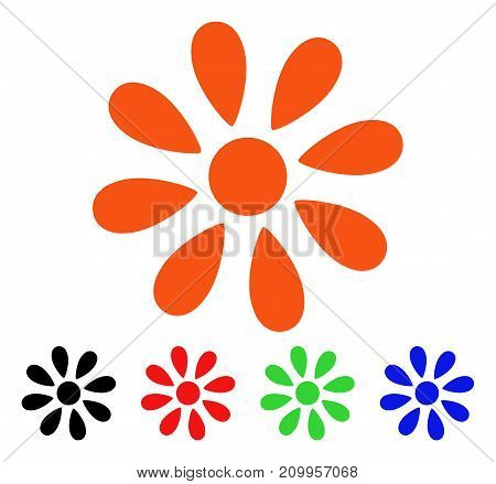 Daisy Flower icon. Vector illustration style is a flat iconic daisy flower symbol with black, orange, red, green, blue color variants. Designed for web apps and software interfaces.