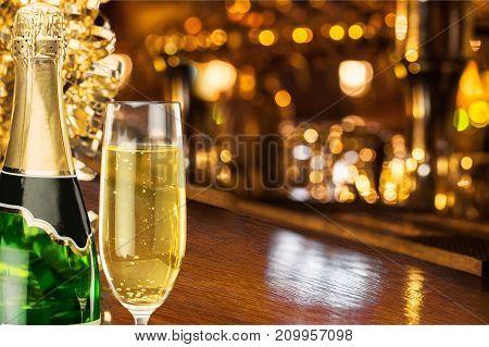 Glass delicious champagne bar color pub background