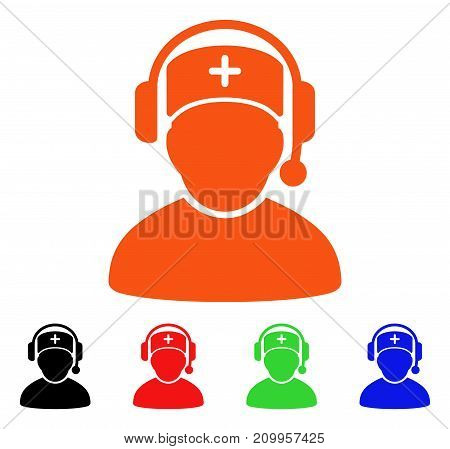 Doctor Call Center icon. Vector illustration style is a flat iconic doctor call center symbol with black, orange, red, green, blue color versions. Designed for web apps and software interfaces.