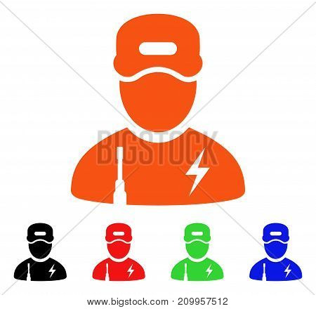 Electrician Boy icon. Vector illustration style is a flat iconic electrician boy symbol with black, orange, red, green, blue color variants. Designed for web apps and software interfaces.