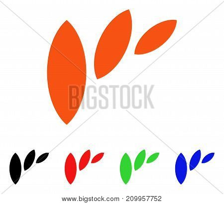 Flora Leaf Abstraction icon. Vector illustration style is a flat iconic flora leaf abstraction symbol with black, orange, red, green, blue color versions.
