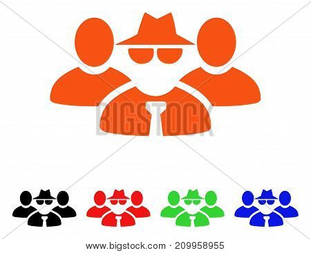Mafia People Group icon. Vector illustration style is a flat iconic mafia people group symbol with black, orange, red, green, blue color variants. Designed for web apps and software interfaces.